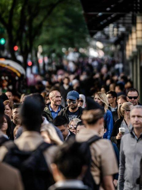 street full of people